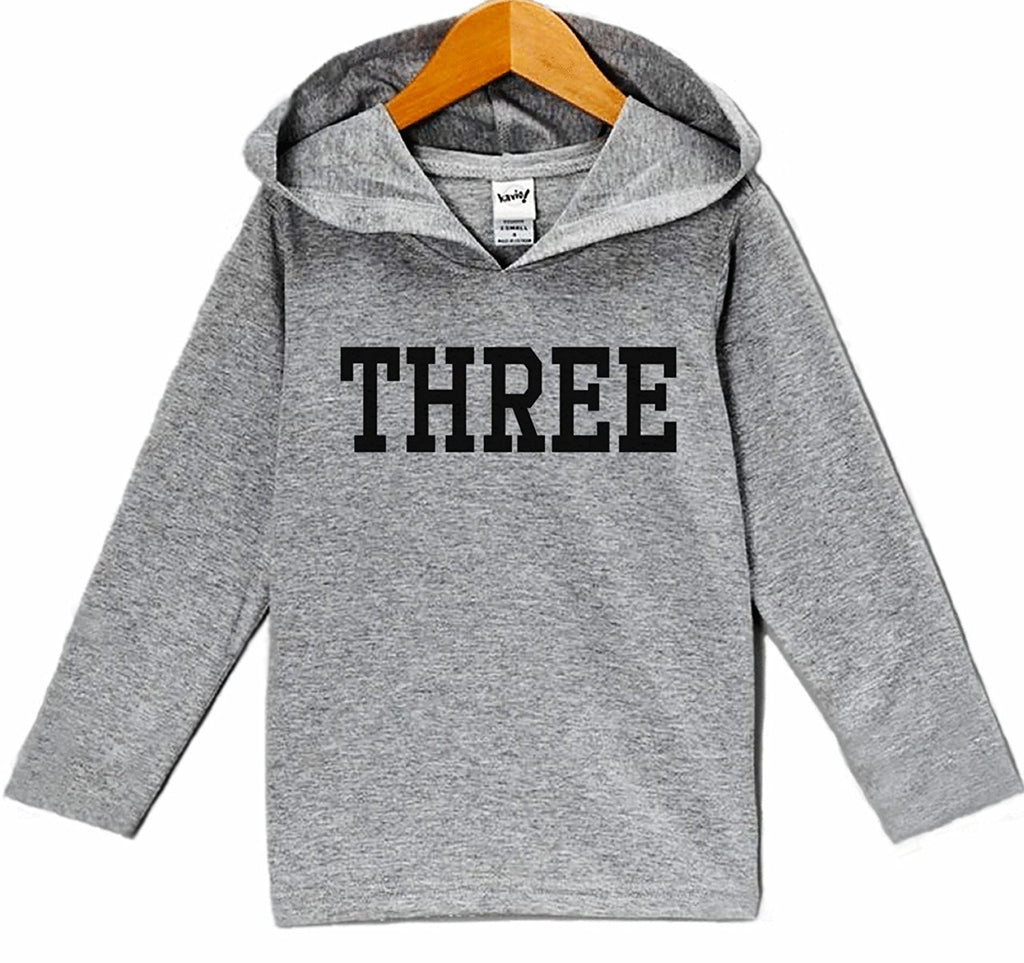 7 ate 9 Apparel Kid's Three Birthday Hoodie