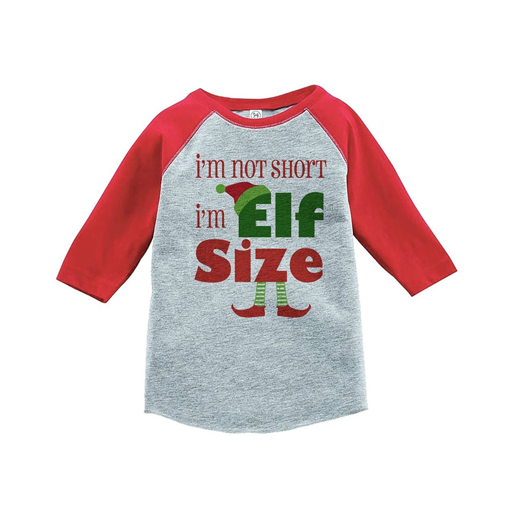 7 ate 9 Apparel Youth Funny Elf Size Christmas Raglan Shirt Red