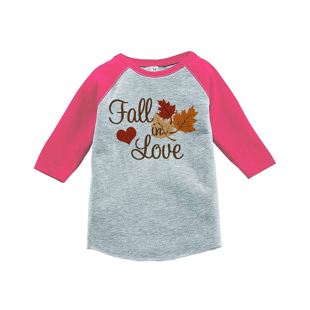 7 ate 9 Apparel Baby's Fall In Love Thanksgiving Pink Raglan