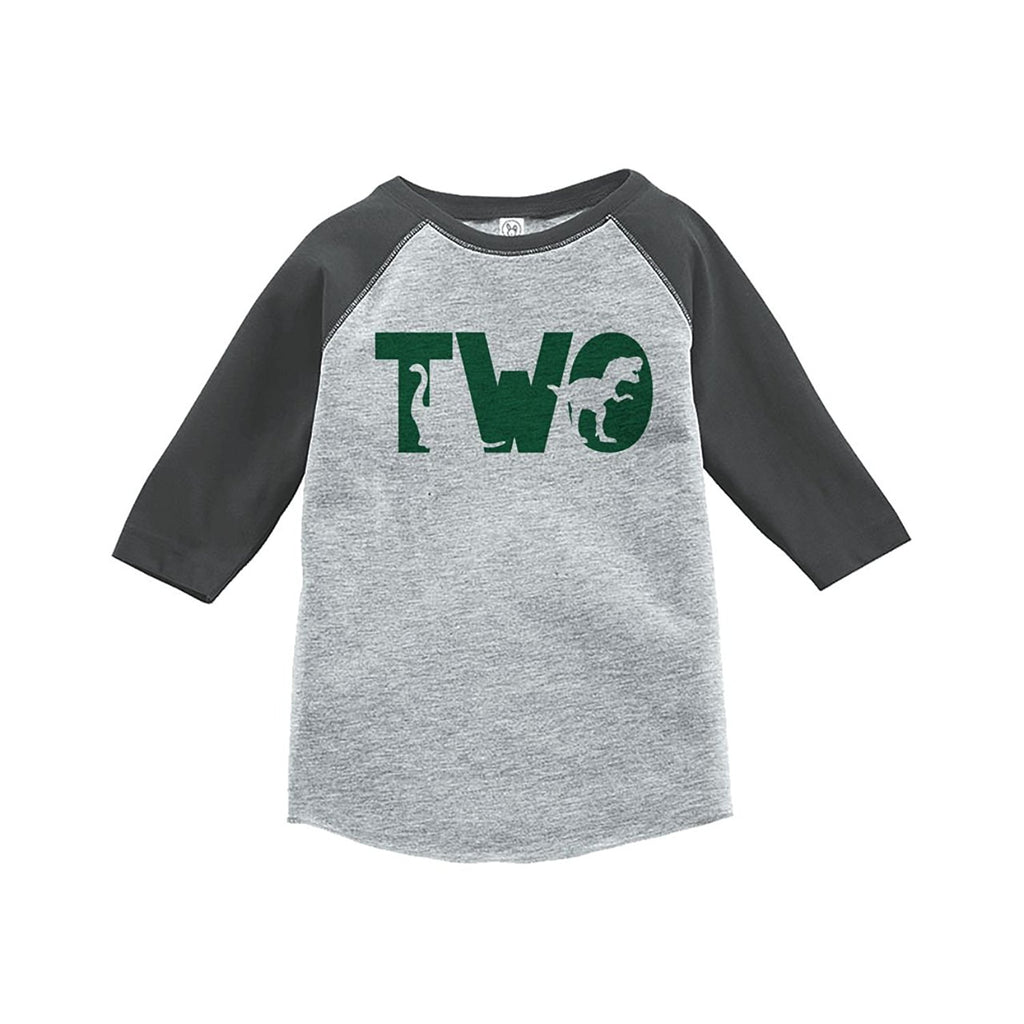 7 ate 9 Apparel Two Second Birthday Dinosaur Grey Baseball Tee