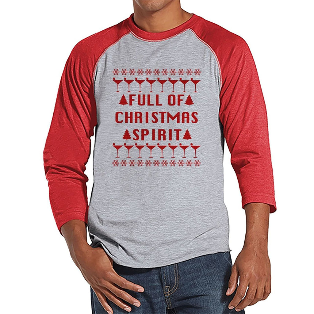7 ate 9 Apparel Mens Full of Christmas Spirit Raglan