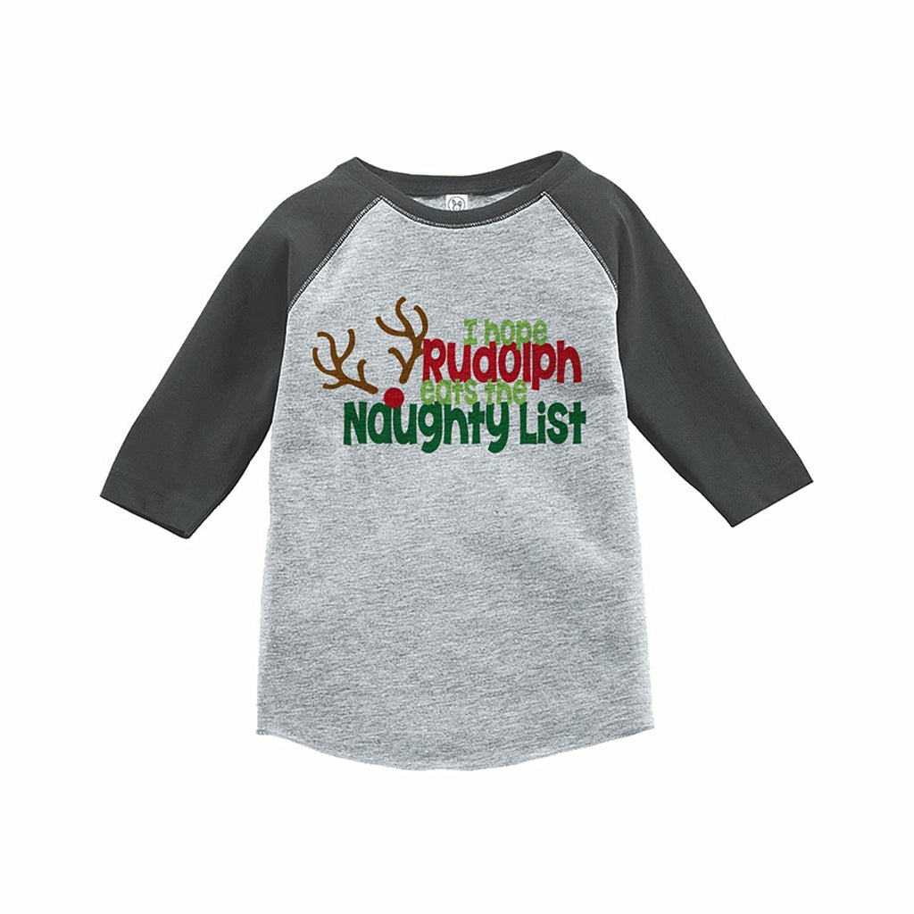 7 ate 9 Apparel Kids Funny Naughty List Christmas Grey Raglan Tee