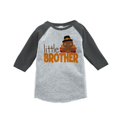7 ate 9 Apparel Baby Boy's Little Brother Thanksgiving Grey Raglan