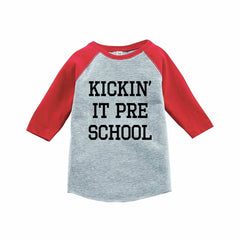 7 ate 9 Apparel Funny Kids Preschool Baseball Tee Red