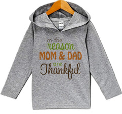 7 ate 9 Apparel Baby's Mom and Dad Are Thankful Thanksgiving Hoodie