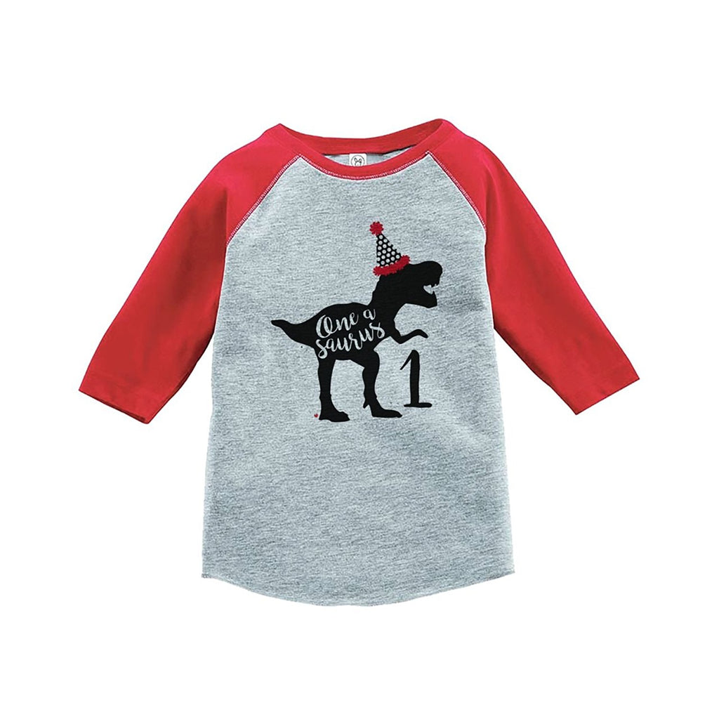 7 ate 9 Apparel One First Birthday Dinosaur Red Baseball Tee