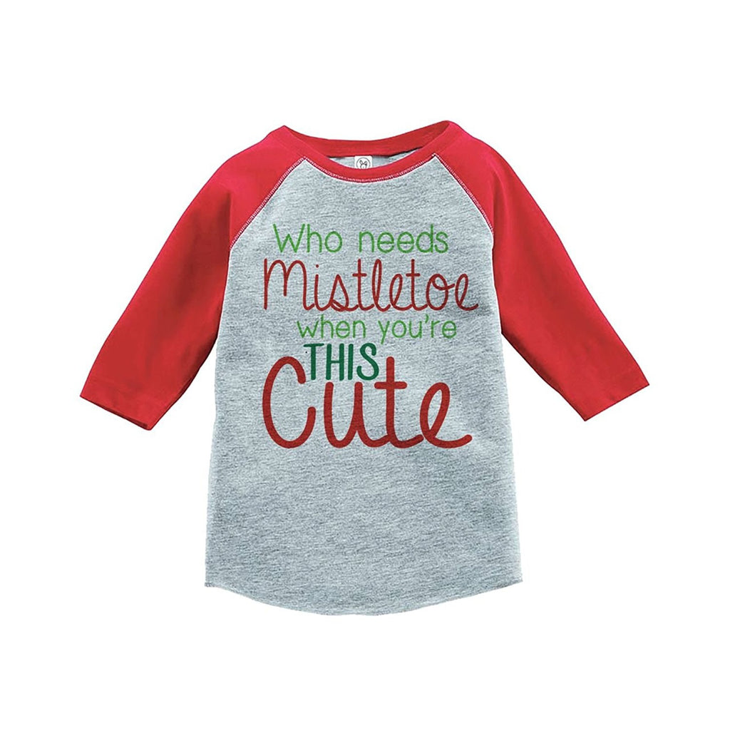 7 ate 9 Apparel Youth Mistletoe Christmas Raglan Shirt Red