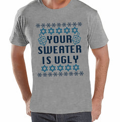 Your Sweater Is Ugly - Men's Grey Hanukkah T-shirt