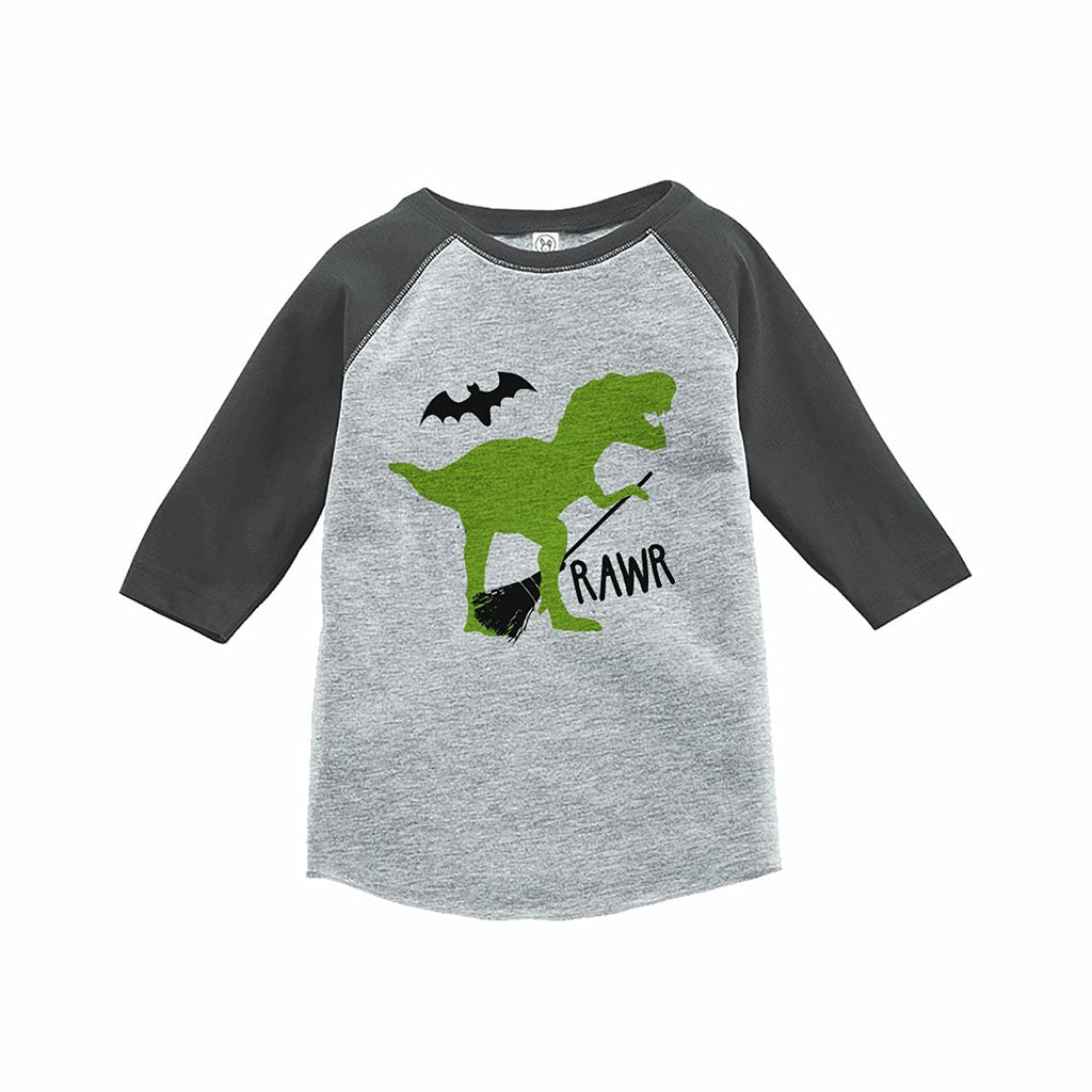 7 ate 9 Apparel Boy's Dinosaur Halloween Raglan Tee Grey