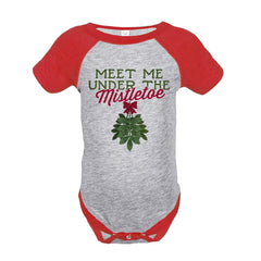 7 ate 9 Apparel Baby's Meet Me Under The Mistletoe Christmas Onepiece Red