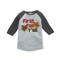 7 ate 9 Apparel Baby's First Fall Y'all Grey Raglan