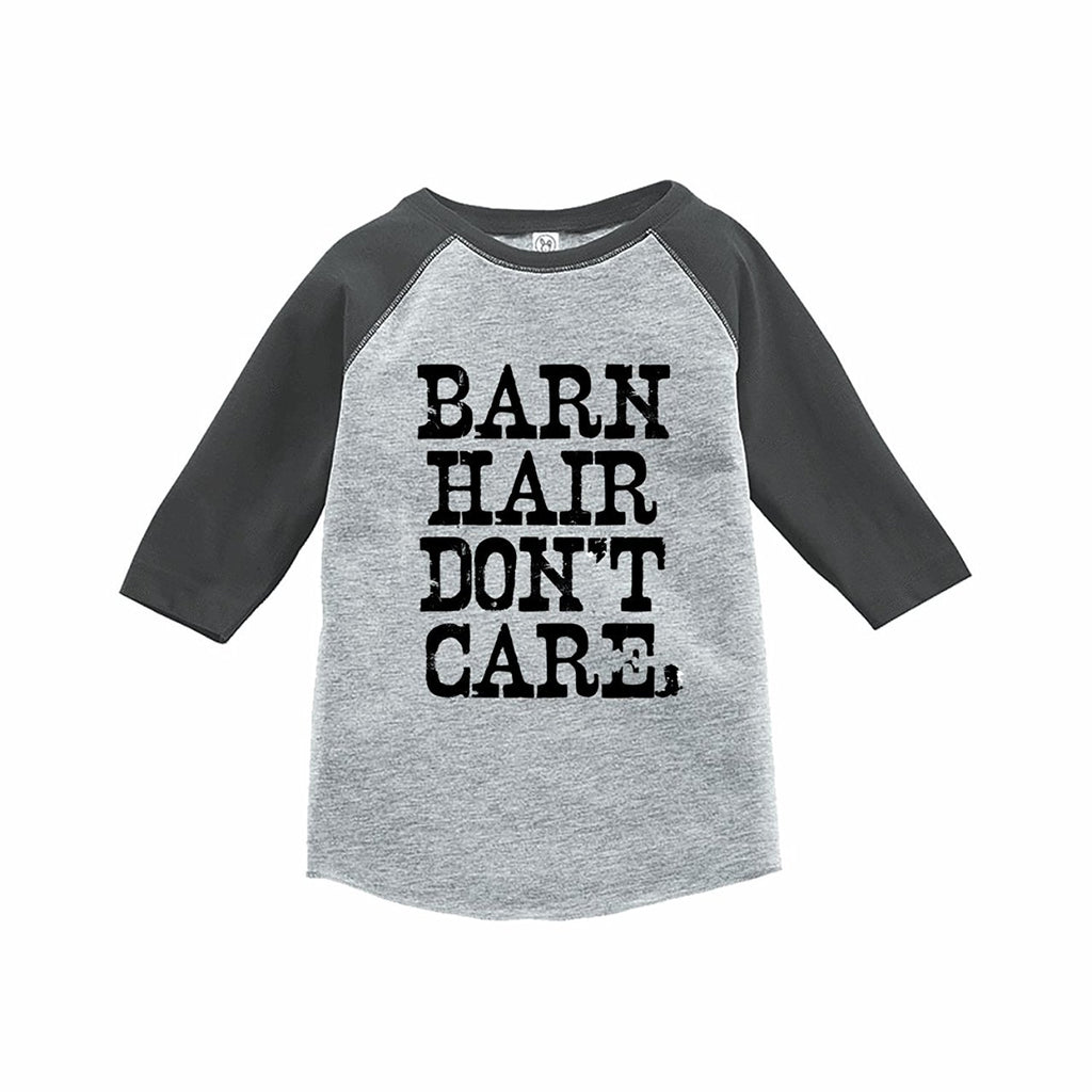 7 ate 9 Apparel Funny Kids Barn Hair Don't Care Baseball Tee Grey