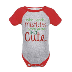 7 ate 9 Apparel Baby's Mistletoe Christmas Onepiece Red