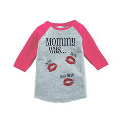 7 ate 9 Apparel Kids Mommy Was Here Valentine's Day Pink Raglan