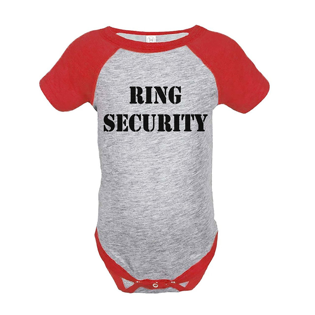 7 ate 9 Apparel Baby Boy's Ring Security Wedding Red Raglan Onepiece