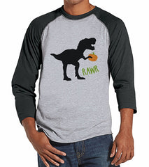 7 ate 9 Apparel Men's Dinosaur Halloween Raglan Tee
