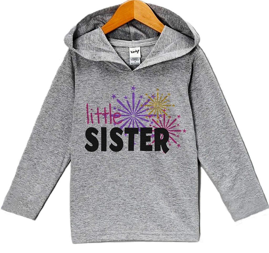 7 ate 9 Apparel Baby Girl's Little Sister New Years Eve Hoodie Pullover