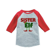 7 ate 9 Apparel Youth Sister Elf Christmas Raglan Shirt Red