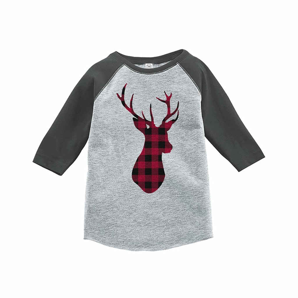 Plaid Deer Grey Baseball Tee Shirt 7 ate 9 Apparel Family Matching Christmas Pajama Shirts