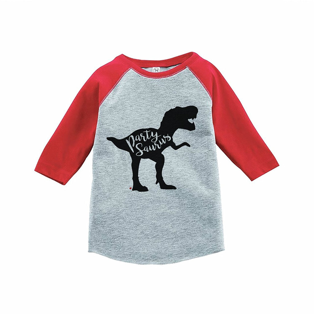 aaf41caf4 7 ate 9 Apparel Kids Partysaurus Dinosaur Birthday Red Raglan Tee
