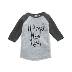7 ate 9 Apparel Kids Happy New Year's Eve Grey Baseball Tee