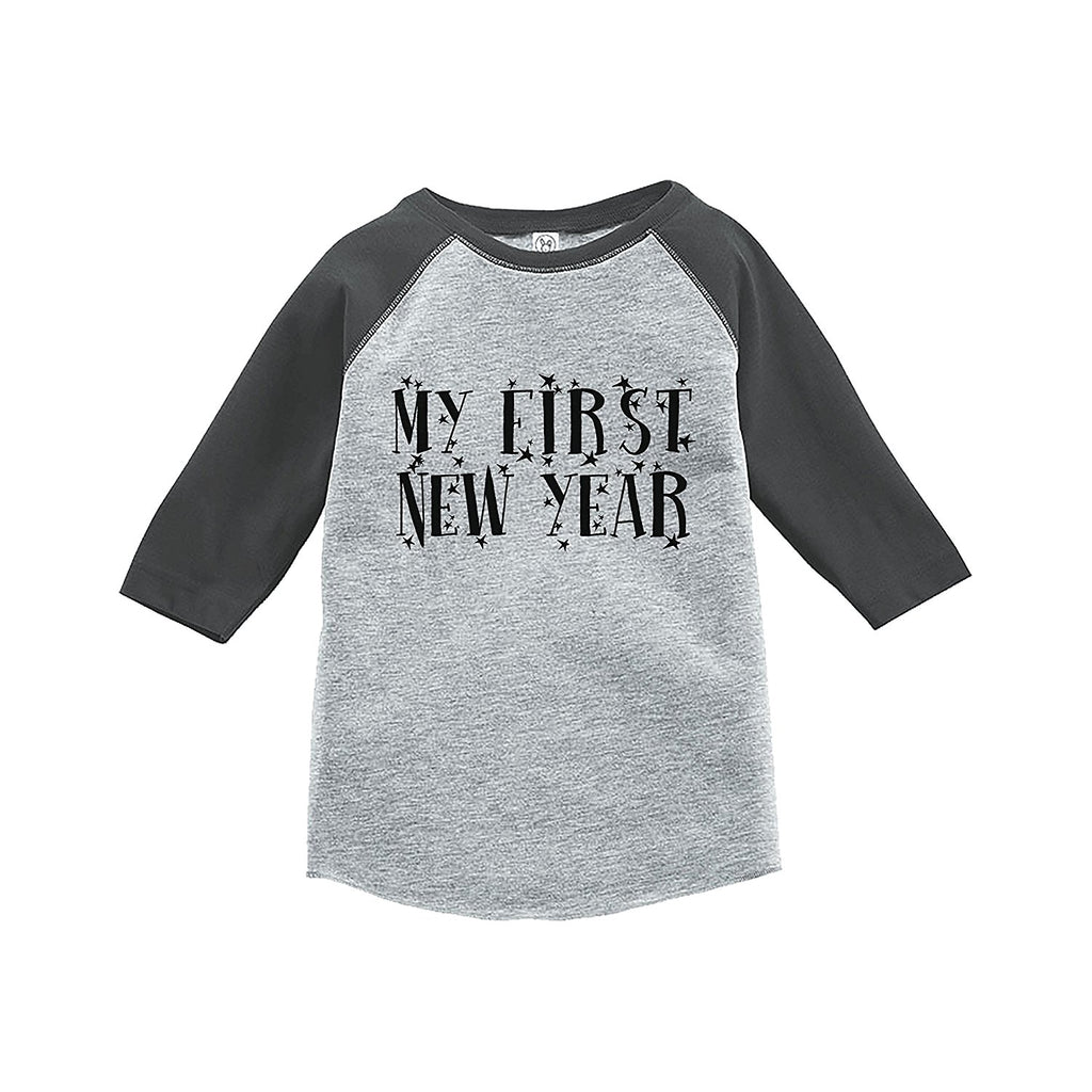 7 ate 9 Apparel Kids First New Year's Eve Grey Baseball Tee