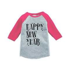 7 ate 9 Apparel Kids Happy New Year's Eve Pink Baseball Tee