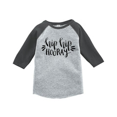 7 ate 9 Apparel Kids Hip Hip Horray New Year's Eve Grey Baseball Tee