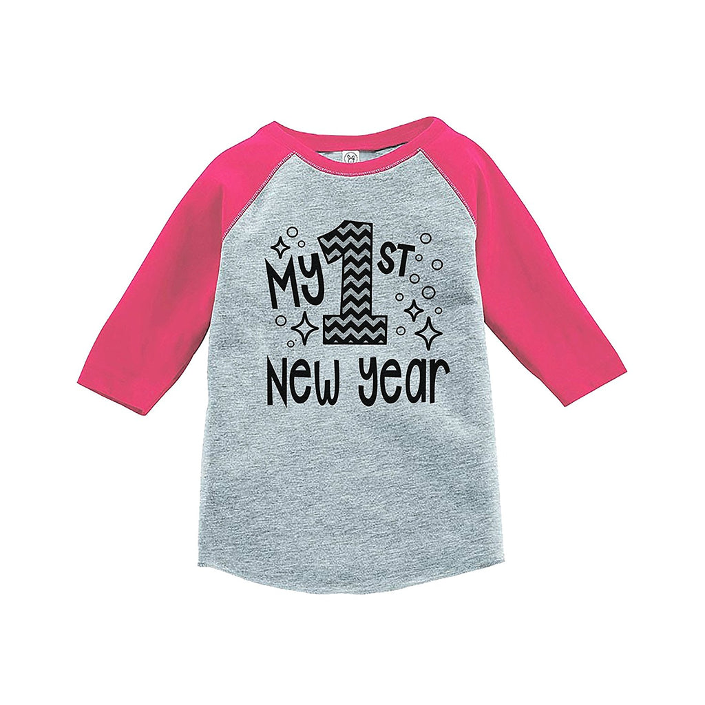 7 ate 9 Apparel Baby's 1st New Year's Eve Pink Baseball Tee