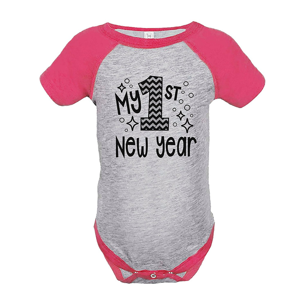 7 ate 9 Apparel Baby's 1st New Year's Eve Pink Raglan Onepiece