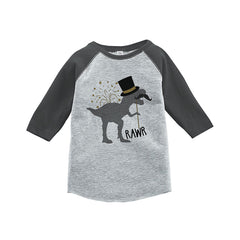 7 ate 9 Apparel Kids Dinosaur New Year's Eve Grey Baseball Tee
