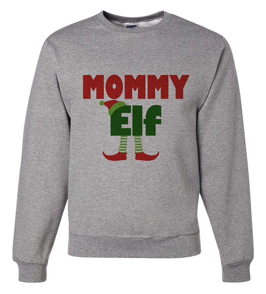 7 ate 9 Apparel Mens Mommy Elf Christmas Sweatshirt