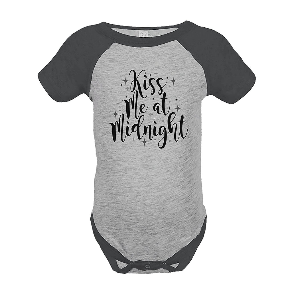 7 ate 9 Apparel Kids Kiss Me At Midnight New Year's Eve Grey Raglan Onepiece