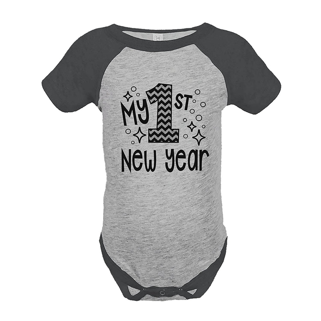 7 ate 9 Apparel Baby's 1st New Year's Eve Grey Raglan Onepiece