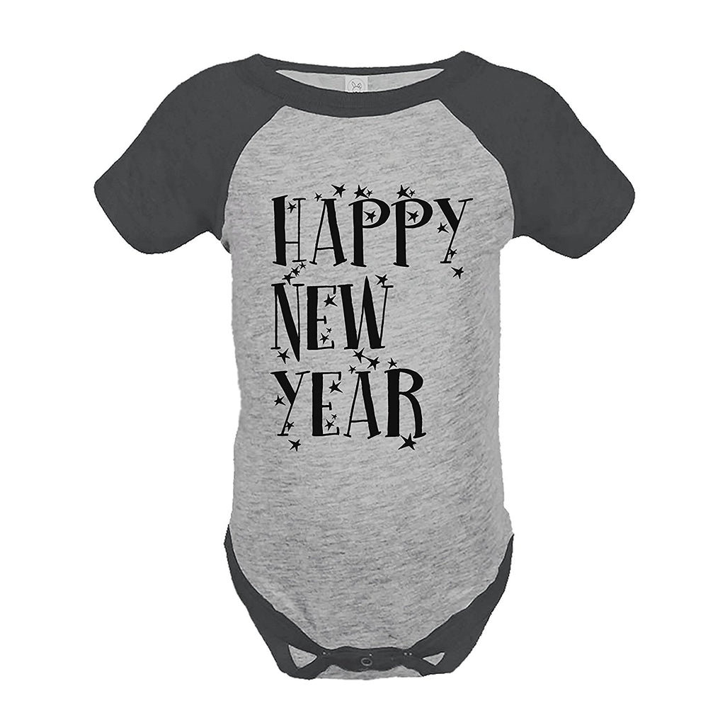 7 ate 9 Apparel Kids Happy New Year's Eve Grey Raglan Onepiece