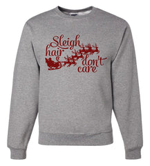 7 ate 9 Apparel Mens Sleigh Hair Funny Christmas Sweatshirt