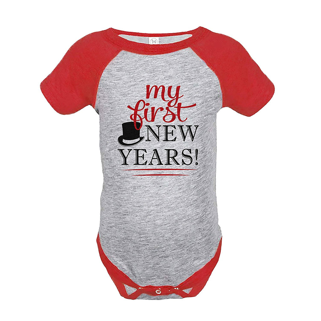 7 ate 9 Apparel Kids First New Year's Eve Red Raglan Onepiece
