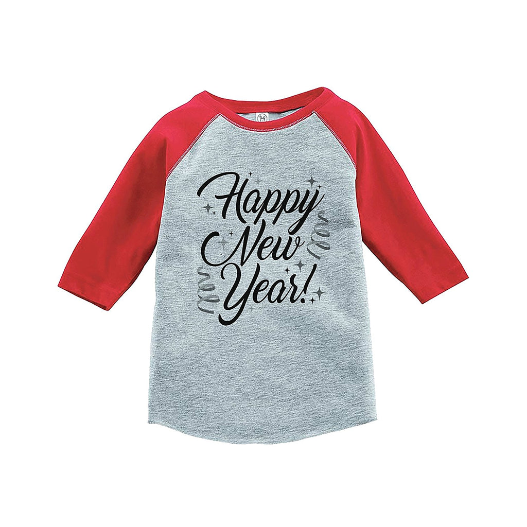 7 ate 9 Apparel Kids Happy New Year's Eve Red Baseball Tee