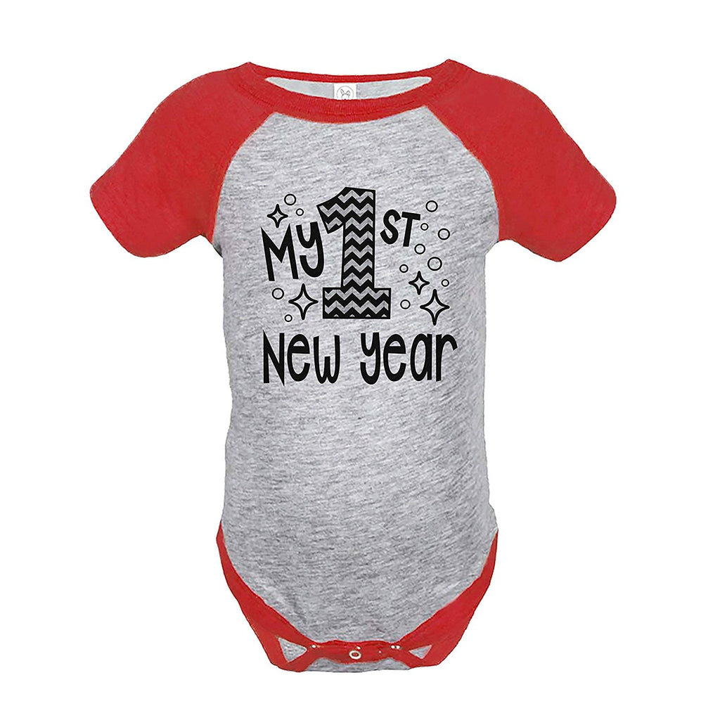 7 ate 9 Apparel Baby's 1st New Year's Eve Red Raglan Onepiece