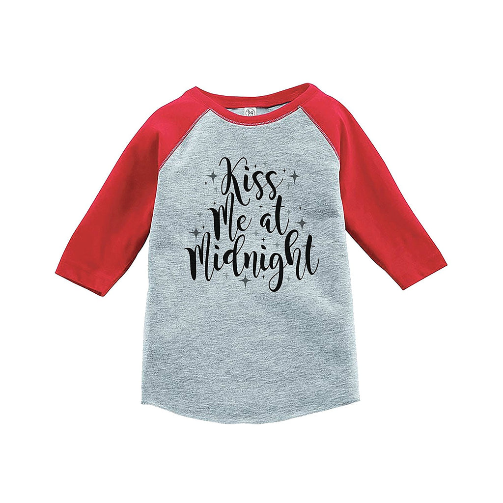 7 ate 9 Apparel Kids Kiss Me At Midnight New Year's Eve Red Baseball Tee