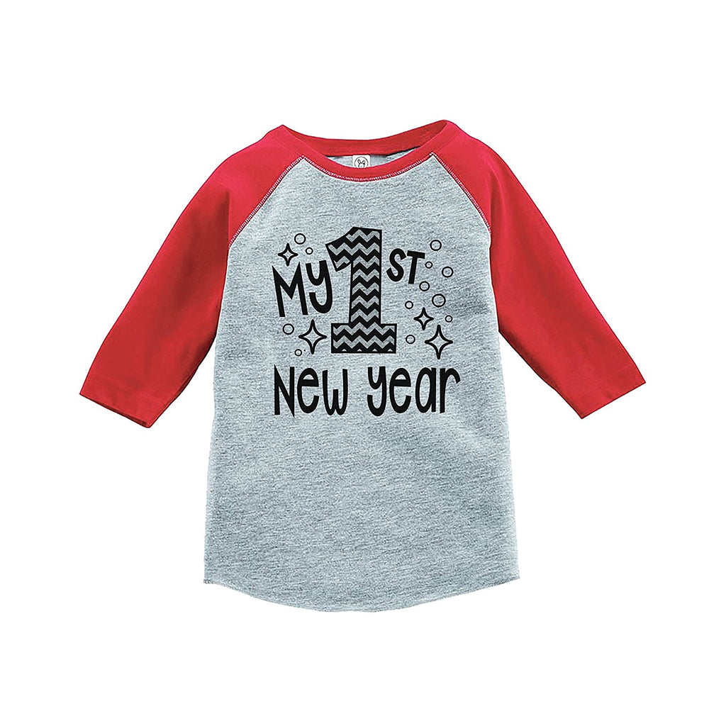 7 ate 9 Apparel Baby's 1st New Year's Eve Red Baseball Tee