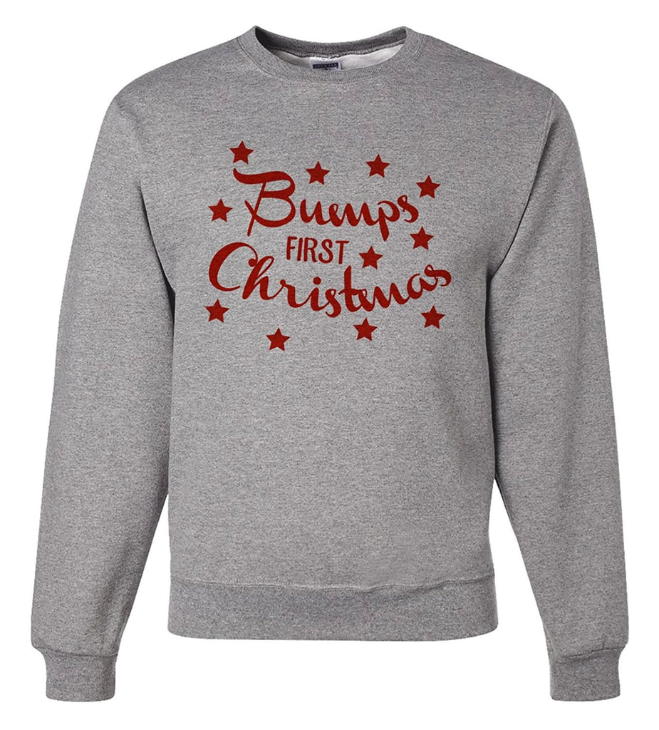 7 ate 9 Apparel Mens Bump's First Christmas Sweatshirt