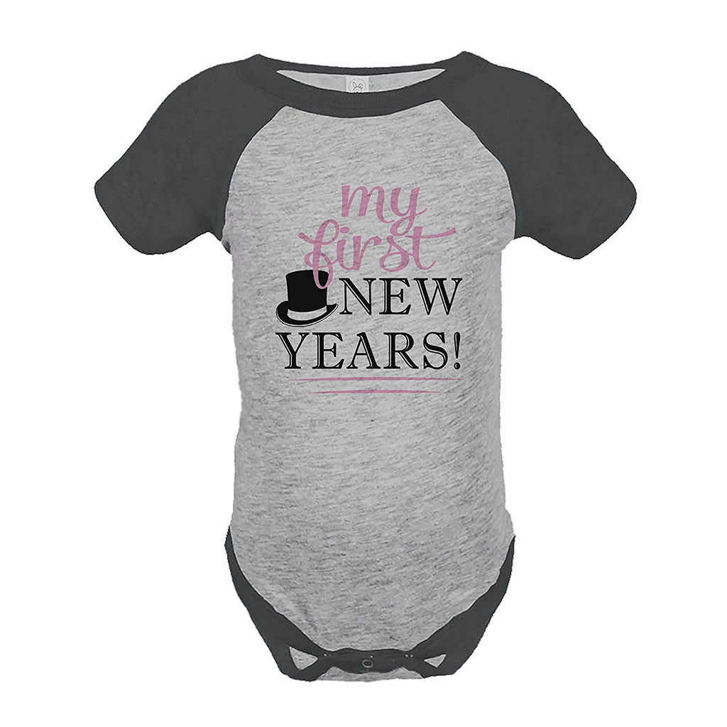 7 ate 9 Apparel Kids First New Year's Eve Grey Raglan Onepiece