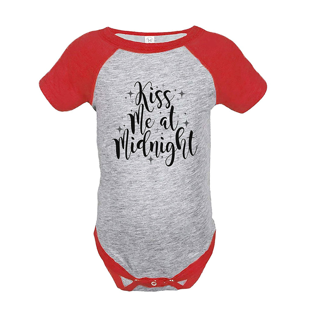 7 ate 9 Apparel Kids Kiss Me At Midnight New Year's Eve Red Raglan Onepiece