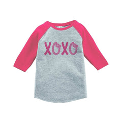 7 ate 9 Apparel Kids XOXO Happy Valentine's Day Pink Raglan