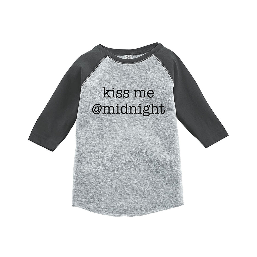 7 ate 9 Apparel Kids Kiss Me At Midnight New Year's Eve Grey Baseball Tee