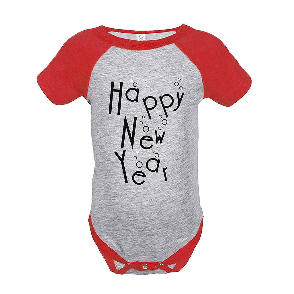 7 ate 9 Apparel Kids Happy New Year's Eve Red Raglan Onepiece