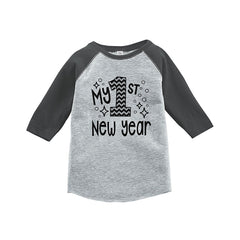 7 ate 9 Apparel Baby's 1st New Year's Eve Grey Baseball Tee