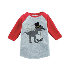 7 ate 9 Apparel Kids Dinosaur New Year's Eve Red Baseball Tee