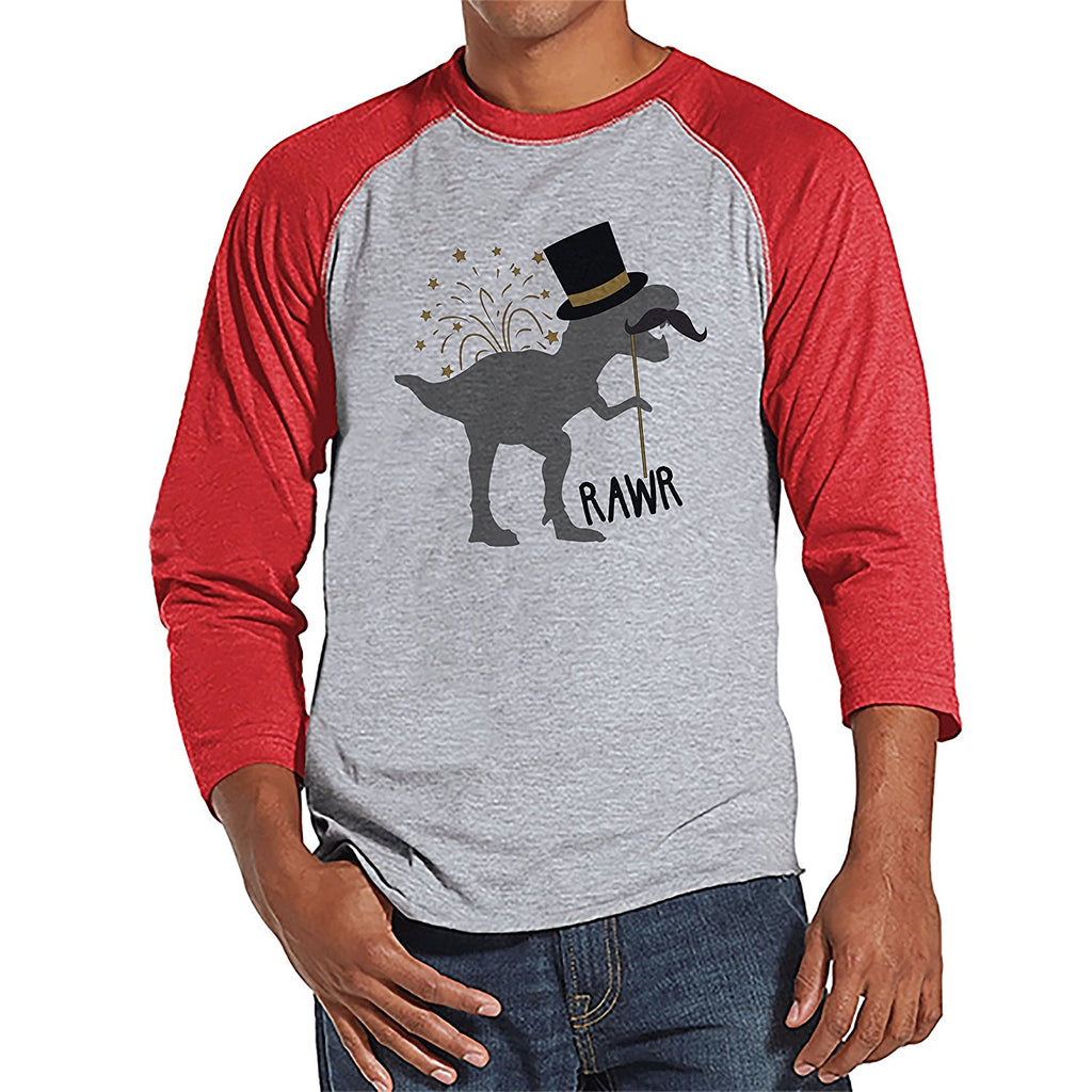 Dinosaur New Year's - Men's Red Raglan Tee